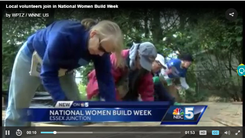 NBC Channel 5 News Story on women volunteering at Green Mountain Habitat for Humanity buildsites during National Women Build Week