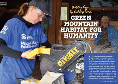 Best of Burlington article on Green Mountain Habitat for Humanity's work in Chittenden County, Vermont