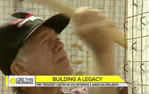 CBS This Morning news video featuring Jimmy Carter on Volunteering and American Resilience.