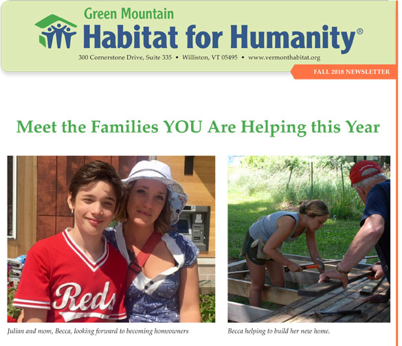 Green Mountain Habitat for Humanity Fall 2018 Newsletter in PDF form